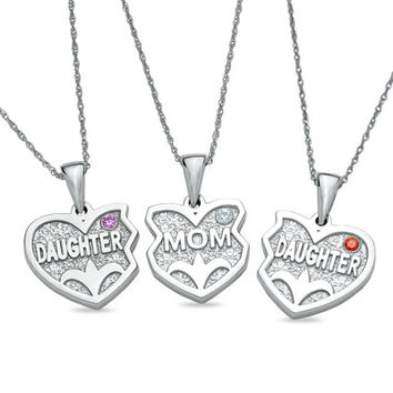 Daughters and Mom Three Hearts Pendants in Sterling Silver (3 Stones)