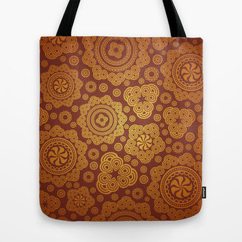 Warm Gold Paisley Pattern Tote Bag by All Is One