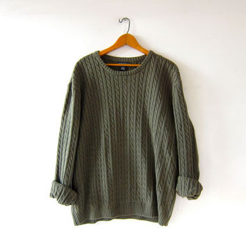 vintage boyfriend sweater. cable knit sweater. army green
