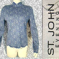 St. John Evening Blouse in Blue with Sequins & Scalloped Edge - at My Site