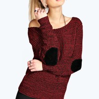 Shauna Slash Neck Elbow Patch Jumper