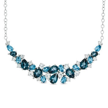 Multi-Shaped Blue and White Topaz Necklace in Sterling Silver - 17