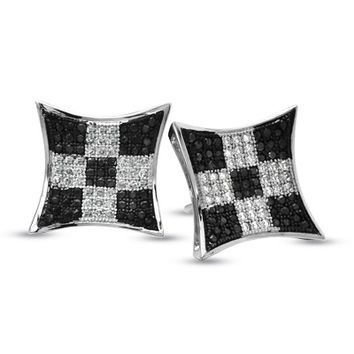 1/2 CT. T.W. Enhanced Black and White Diamond Checkerboard Earrings in 10K White Gold