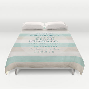 build sandcastles Duvet Cover by Sylvia Cook Photography