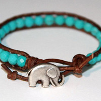 "Single Leather Wrap  Genuine Turquoise Beaded Bracelet ""The Elephant Good Luck Charm"""" My Lucky Charm"