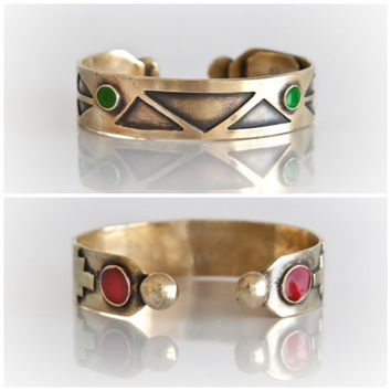 Aztec Gold geometric triangle patterns  cuff in solid oxidized brass - made to order