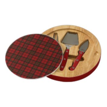 Adorable Red Christmas tartan Round Cheese Board by PLdesign