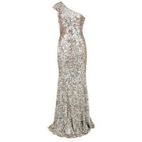 Rachel Gilbert Pearla Silver Sequin Evening Gown - Polyvore