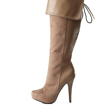 Cuffed Knee-High Heel Boots by Charlotte Russe - Taupe