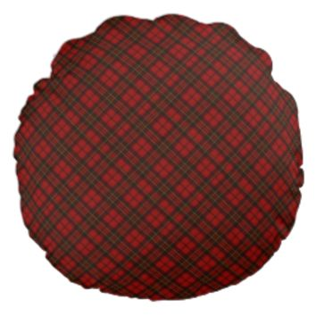 Adorable Red Christmas tartan Round Pillow by PLdesign