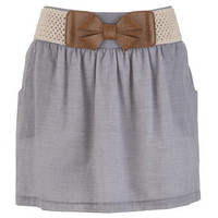 Bow Belt Striped Skirt