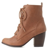 Qupid Lace-Up Chunky Heel Booties by Charlotte Russe - Cognac