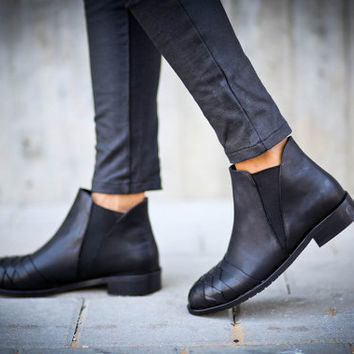 25% Christmas Sale, Alessandra, Black Boots, Woven Shoes, Black Ankle Boots, Leather Booties, Winter Shoes, Black Flats