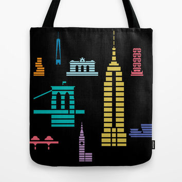 New York Skyline Empire State Poster Black Tote Bag by Christopher Dina