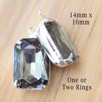 Black Diamond Octagon Jewels, Silver Settings, Gray Glass Beads, 14mm x 10mm, One or Two Rings, Rhinestone, Jewels,  One Pair