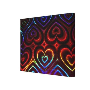 Neon Hearts Wrapped Canvas