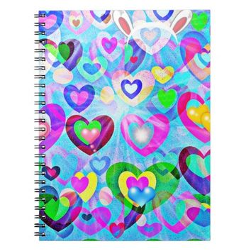 Happy Easter hearts pastel colors notebook