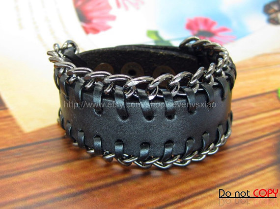 Adjustable Black  leather Chain  Woven Bracelets mens bracelet cool bracelet jewelry bracelet bangle bracelet  cuff bracelet 1128S