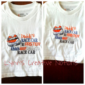 Embroidered tshirts, girls racing shirt, boys racing shirt, nascar, racing baby, dirt track racing