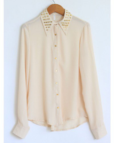 Studded Collar Blush Chiffon Long Sleeve