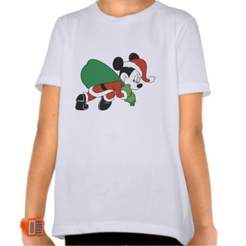 Mickey Mouse Santa carrying sneaking with sack bag