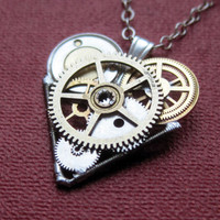"Clockwork Heart Necklace ""Encore"" Elegant Industrial Heart Pendant Steampunk Sculpture Gershenson-Gates Mechanical Mind Christmas"