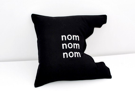 Nom Nom Nom Black Pillow by YellowBugBoutique on Etsy