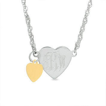 Heart Monogram Anklet in Sterling Silver and 14K Gold (3 Initials)