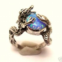 Sterling Silver 925 Dragon Snake Ring Onyx or Opal or Turquoise or Opalite Stone