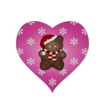 Pink Heart Shaped: Christmas Bear Stickers