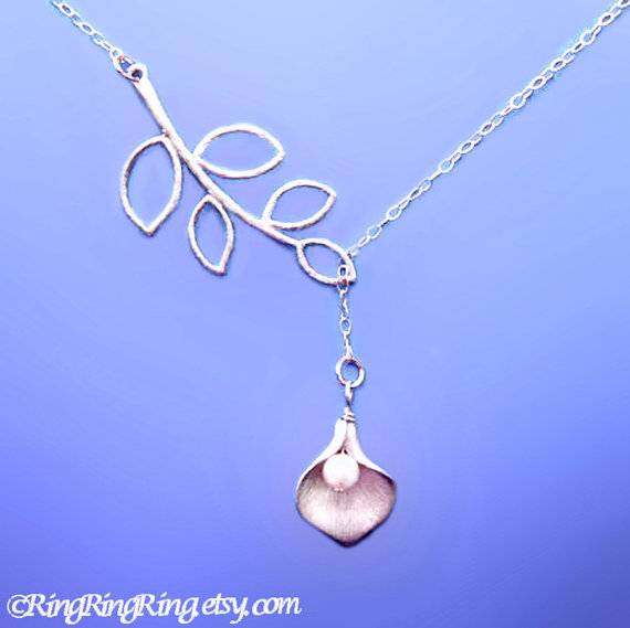 Genuine Pearl &amp; White gold Calla Lily on 925 Sterling silver necklace with leaf charm - flower jewelry, gift for girlfriend 083012