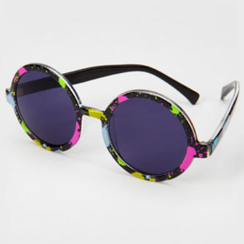 Round Paint Splatter Sunglasses