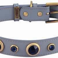Imperial Faceted Blue Sand Stone & Sodalite Dog Collar - Med/Large Dogs - Grey/Blue Gemstones / Medium