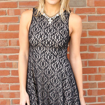 Hostess with the Mostest Sleeveless Lace Fit and Flare Dress - Black/Nude