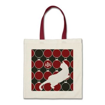 Cool Elegant Playful Cat Red and Black Monogram Christmas Holiday Tote Bags for Cat Lovers - More styles and colors are available