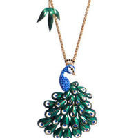 LARGE PEACOCK PENDANT NECKLACE - Betsey Johnson