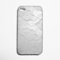 White Lace Over Silver IPhone 4 Cas.. on Luulla