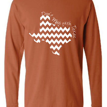 Texas Chevron Comfort Color Short LONG SLEEVE T-shirt.  Show Your state pride and state love