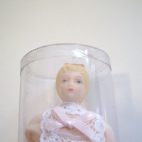 Miniature Doll House Girl Porcelain figure 4 inch Victorian era style doll