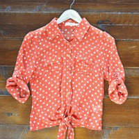 Taste of Tangerine Tie Top - $48.00: From ourchoix.com, a vibrant and colorful tangerine polka dot tie top.