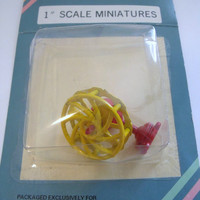 Miniature Doll House 1 inch scale table top fan red yellow unopened