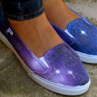 Custom Painted Galaxy Flat Shoes