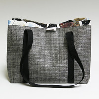 Gray tweed look vinyl tote bag