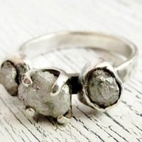 Rustic Rough Uncut Diamond Ring 2 Carat Sterling Silver