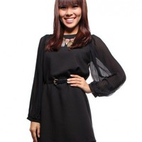 Pleated Chiffon LS Shift Dress  Black