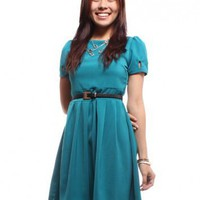Teardrop Sleeved Shift Dress  Turquoise
