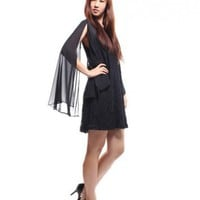 Angel Sleeve Lace Dress  Black