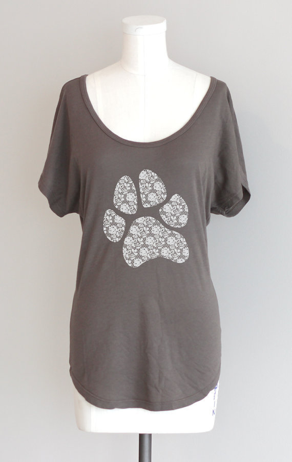 Lace Paw Print Animal Rescue Dolman Sleeve Organic Pima Cotton Modal Tunic