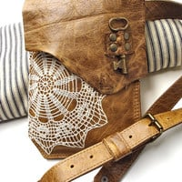 Small Boho Leather Messenger Bag with Crochet Lace Doily and Antique Key - Made To Order