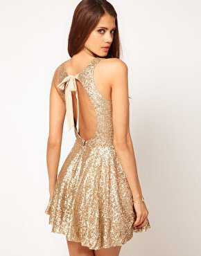 TFNC Sequin Dress with Open Back & Full Layered Prom Skirt at asos.com